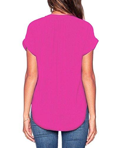 ASCHOEN Damen Casual Bluse Chiffon Shirt Oberteil Tops T-Shirt Rose Rot