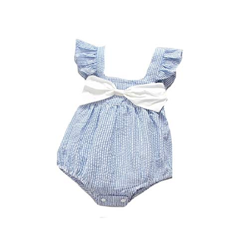 CuteRose Baby Girl's Stripes Bow Flounced Undershirts Bodysuits Outfits Light Blue 80 Blue Stripe Bow Tie