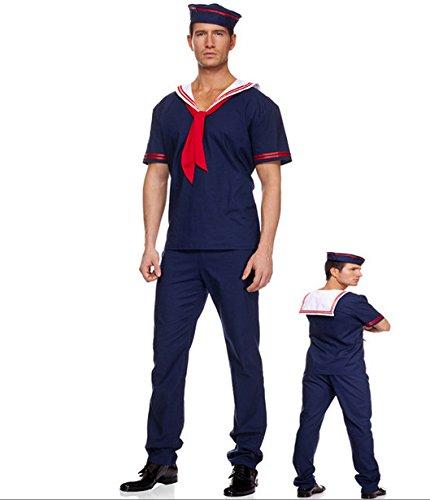 DLucc Männlich roten Schal navy Matrosenanzug cos Feng-Shui- Hand-Kleidung Navy Halloween-Party -Kostüm spielen Kleidung Fotografie , - Männlich Sailor Kostüm Halloween