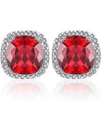 JewelryPalace Pendientes con rubí cuadrado en 925 plata