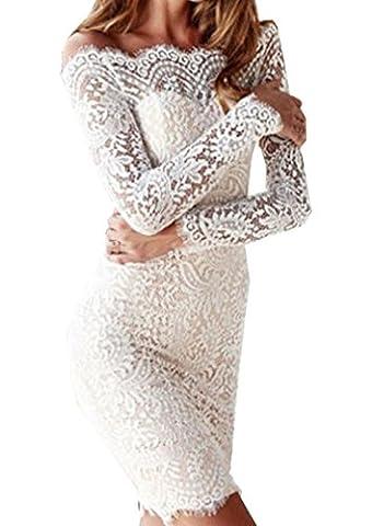 Weiblich Minikleid Mode Reizvolle Spitzenkleider Cocktailkleid Freizeit Stitching Partykleid Slim Lange Ärmel Trägerlos Das Wort Kragen Kleider Wickelkleider Bleistiftrock