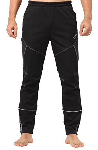4Ucycling Herren Windstopper Casual Outdoor und Multi Sport Pants Fleeced, Herren, Black-Grey Line, Weight:140-165Lbs Height:5'6