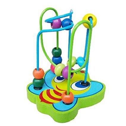Meiqils Juguetes para Niños  Gran Venta Niños Bebé Vistoso De madera Mini alrededor de cuentas Juegos Ducativos para Niños Juguete Inteligencia(Color al azar)