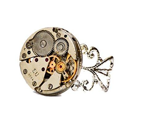 Accesorios steampunk anillo chapado en plata. Hecho a mano