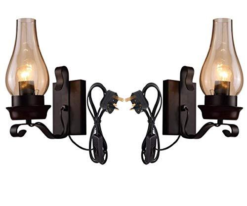 XXY.XXY 2 Paket Industrie Vintage Plug in Wandleuchte Leuchte Wand Wash Licht mit Braunglas Lampenschirm für Loft Bar Küche Restaurant (schwarz) -
