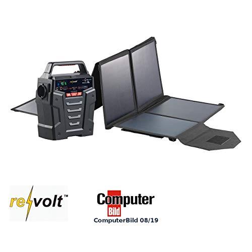 reVolt Stromerzeuger: Solar-Generator & Powerbank mit faltbarem 100-Watt-Solarpanel, 75 Ah (Powerbank Solar Konverter)