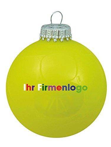 Krebs & Sohn - 250 individuell bedruckte Weihnachtskugeln neon gelb glanz 8 cm mit 4-5fbg. Tampondruck (einseitig) - MADE IN GERMANY