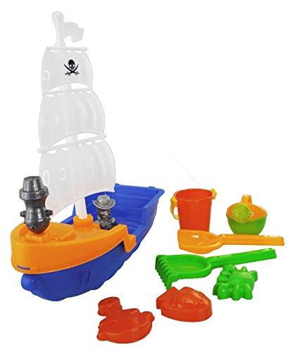 BIECO 06000927-Sabbia Giocattolo Set con Nave Pirata e Accessori, 8teilig, ca. 40cm