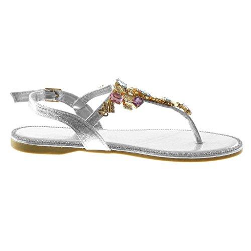 Angkorly - Chaussure Mode Sandale Tong salomés lanière cheville femme bijoux strass diamant fantaisie Talon bloc 1.5 CM - Argent - VC5EHEz