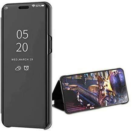 LsYun Coque Compatibile con Samsung Galaxy S10 Cover Standing Cover Ultra Slim Mirror Flip Custodia PU+TPU 360°Antiurto Case Placcatura Specchio Protettiva Bumper Case-Nero