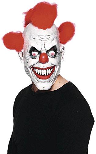 (Clown Maske Evil 3/4 Maske aus Latex, mit roten Haarbüscheln)