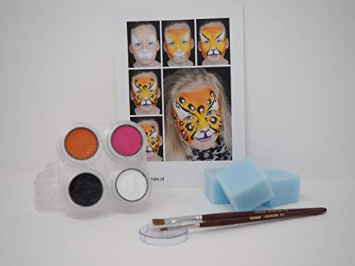 Premium Kinderschminke Set Panther Hochwertige Profi-Schminkpalette zum Kinderschminken mit Water-Makeup, Anleitung, Pinsel & Schwämmchen