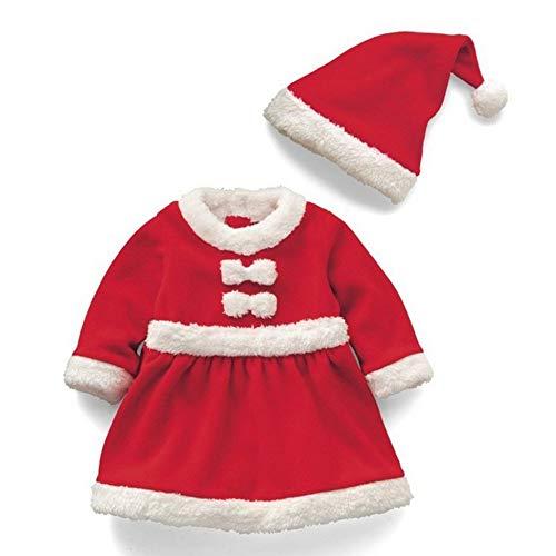 Hunptail Weihnachtsmannkostüm für Kinder Mädchen und Jungen Nikolaus Outfit Kostüm Baby Weihnachtsmannanzug Hut + Mantel + Hose (Mädchen 130cm)