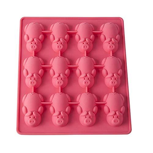 MAYOGO 12 kleine Schweine Silikon Kekse Formen,DIY Formen für Kekse-Kuchen-Süßigkeiten-Fondant-Mousse-Gelee-Pudding,Grün/Weiß/Rosa/Schwarz