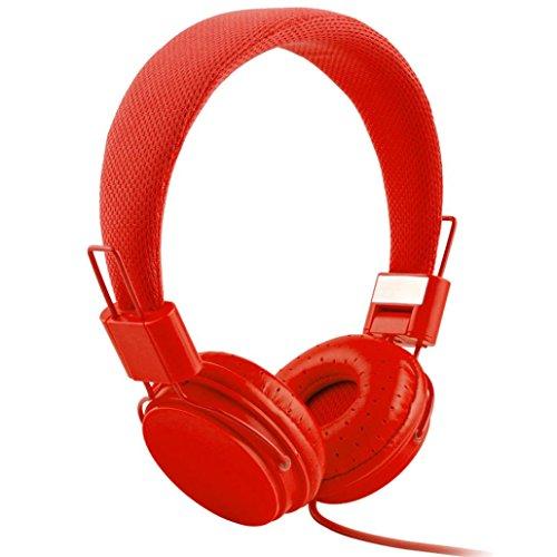 Gaddrt Écouteurs câblés, casque pliable réglable avec microphone stéréo micro (Rouge)