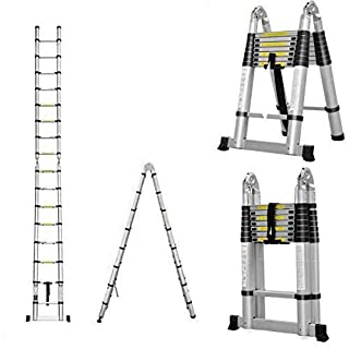 AutoBaBa Multi-Purpose 5M Aluminium Portable Telescopic Ladder DIY Extendable A-Frame Ladder Extension 16 Steps 150KG