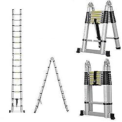 AutoBaBa Multi-Purpose 5M Aluminium Portable Telescopic Ladder DIY Extendable A-Frame Ladder Extension 16 Steps 150KG