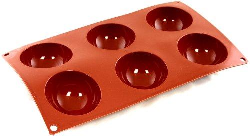 Paderno - flexipad semisfera / stampo per dolci a forma semisferica, in silicone antiaderente, adatto ad alte e basse temperature / 1 x 6 impronte semisferiche, 7 cm (diametro) x 3,5 cm (altezza)
