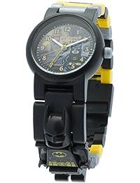 Reloj infantil modificable con figurita de Batman de LEGO DC Comics Super Heroes; negro/amarillo; plástico; 28 mm de diámetro; Cuarzo analógico| chico chica; oficial