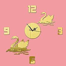 Ssby Diy Fashion Wandtattoo Uhr Creative Swan Digital Spiegel Wanduhr Home Hintergrund Wandsticker