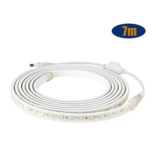 LED Streifen IP65 5050 LED Band 230V 60 LEDs/M 7M Warmweiß für von Haus, Küche, Garten