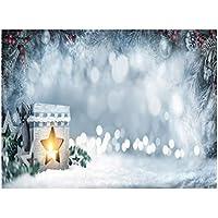 Uonlytech Telón de Fondo de Navidad Fotografía Tema de Navidad Luz de Invierno Tela pictórica Fotografía Personalizada Fondo Estudio Prop 5x3ft