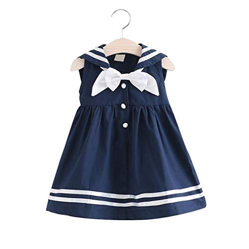 babysbreath17 Marine-Art-Kinder-A-line Minikleid Kinder Ärmel kurzes Kleid Baby-hohe Taillen-Pullover Kleid Navy blau 110cm