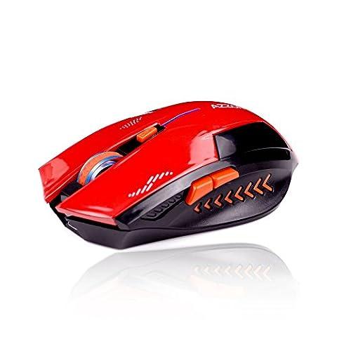 KLIM Souris Gaming Sans Fil Azzor 2400 DPI - Haute Précision - Clic silencieux- Rouge