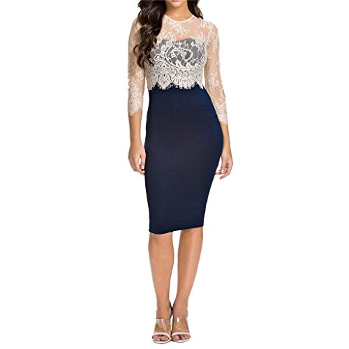 Waooh - Kleid Mit Spitze Ivel Marineblau