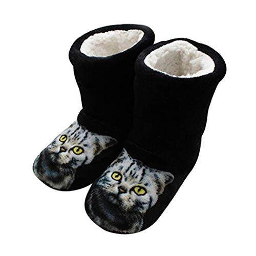 nulala Cute 3D Cat Print Slippers Thick Warm Winter Slippers Mujer Home Indoor Plush Flat with Shoes for Women,Girls