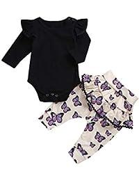 d582feec1c35b Oyedens Cadeaux Bébé Fille Hiver Body Bebe Combinaison À Manches Longues  Barboteuse Vêtements Bébé T-Shirt Fille Nouveau-Né Tops…