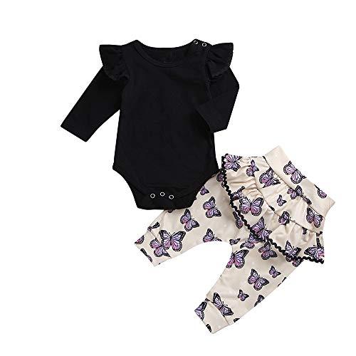 Lenfesh Neugeborenes Baby Mädchen Outfit Kleidung Prinzessin Set Langarm Strampler Spielanzug Overalls Blume Hosen Geburtstag Geschenk Babykleidung