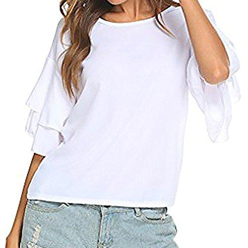 Große Größe TIFY Damen-Sommer-lose Kurzarm-Flügel-Hülsen-beiläufige Chiffon- Spitzen-T-Shirt Bluse (21 Piloten Kostüm)