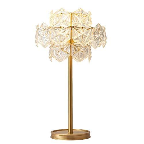ZHAO YING Amerikanische kreative Kristall Tischlampe, Licht Kupfer Moderne Wohnzimmer Glas Schlafzimmer Nacht romantische dekorative Tischlampe (Color : Clear) - Kupfer-nacht-lichter