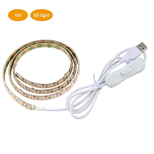 Pawaca USB LED Strip Licht - 18.56 FT/2 m IP65 Wasserdicht Mehrfarbig LED-Tape mit Fernbedienung Controller RGB TV HINTERGRUNDBELEUCHTUNG Kit für TV/PC/Laptop Hintergrund Beleuchtung 1M/3.28Ft Weiß