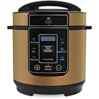 Pressure King Pro by Drew&Cole 8-in-1 Electric Pressure Cooker, 3 litre, 700 W with Extra 3 Piece Utensil Set Copper, 3L)