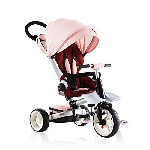 NBgy Baby Outdoor Faltbare Kinderwagen Blue Trike, Anfänger Red Sun Shade 4 In 1 Dreiräder, 1-6 Jahre Alt Jungen Mädchen Rosa Dreiräder Geburtstagsgeschenk (Color : Pink) (Flyer-rosa Radio)