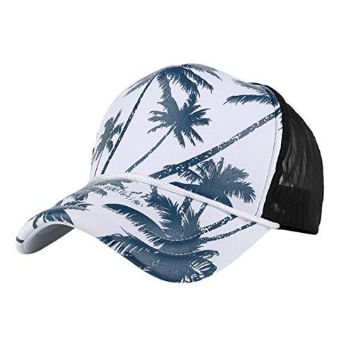 Spriteman Unisex Baseball Cap, Damen Männer Kokosnuss-Baum-Drucken Baseball Kappe Snapback Hip Hop Flachen Hut Verstellbar Baseball Mützen für Draussen (Blau) (Flachen Stroh-hut Krempe)