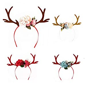 LCLrute Christmas Cute Headband Femme Bandeau Hairband Santa Xmas Party Decor Double Clasp Head Hoop Headband Gatsby