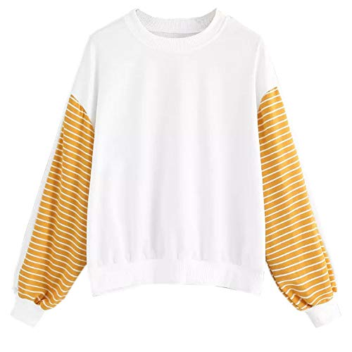 Damen Langarm T-Shirts Winter Langarmshirt Longsleeves Sweatshirts Pullover Sweater Top Outwear Loose Gestreift Patchwork Sport Kleidung Blusen Bluseshirt Hemdblusen
