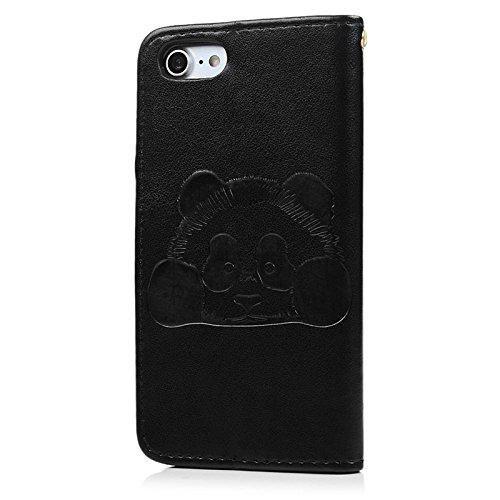 iPhone 7 Hülle, Yokata PU Leder Flip Kawaii Panda Motiv Case Weich TPU Silikon Backcover mit Credit Card Slots Brieftasche Tasche + 1 x Kapazitive Feder Schwarz