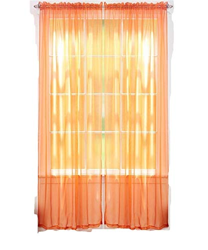 J&V TEXTILES 4er Pack Wert: massiv Sheer Fenster Vorhang Panels, Polyester-Mischgewebe, Orange, 55X84 -
