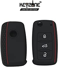 Keyzone Silicone Key Cover For Volkswagen 3 Button Flip Key (Honeycomb Black) (1)