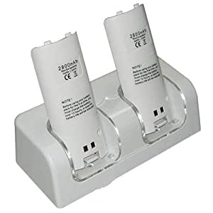 Twin Dual Remote Charger/Charging Docking Station Stand + 2 x 2800 Rechargable mAh Batteries for Nintendo Wii