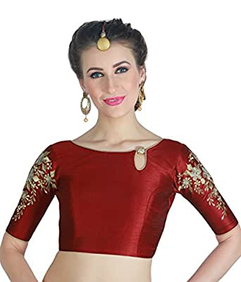 STUDIO SHRINGAAR WOMEN'S POLY RAW SILK MAROON READYMADE SAREE BLOUSE WITH SLEEVES EMBROIDERY (38)