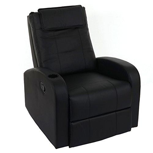 Mendler Fernsehsessel Durham, TV Sessel Relaxsessel Liegesessel, Kunstleder ~ schwarz