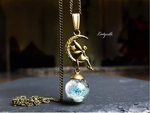 Mond Kette Fee/Himmlischer Engel im Mond mit Schnee und Blüten/Schutzengel Kette/Geschenk für Sie/Sternenzauber /originelles Geschenk - Mond Blüten