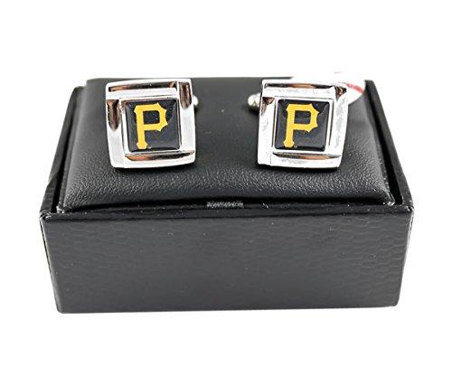 MLB Pittsburgh Pirates Square Cufflinks With Square Shape engraved Logo design Gift Box Set Pittsburgh Pirates-team-design