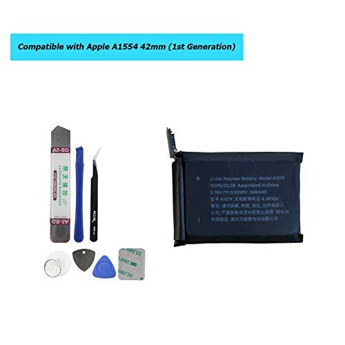 Akku Kompatibel Für Apple Watch 1st Generation 42mm A1554 246mAh 3,78V 0,93Whr with Toolkit ()