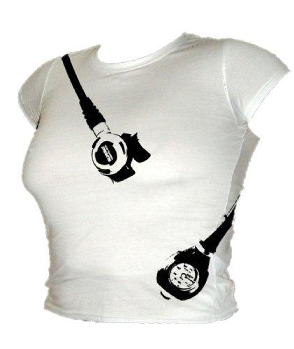 Blue Ray T-Shirts Damen Scuba Diving Regulatoren und Druckmesser T-Shirt Weiß Small